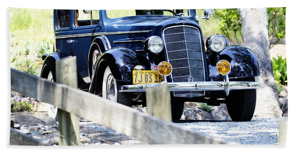 Old Hand Towel featuring the photograph 1934 Oldsmobile Touring Coupe 2 by Holly Blunkall