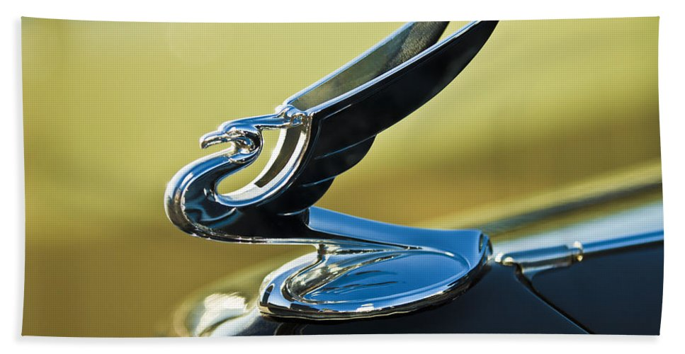 1935 Chevrolet Sedan Bath Sheet featuring the photograph 1935 Chevrolet Sedan Hood Ornament 2 by Jill Reger