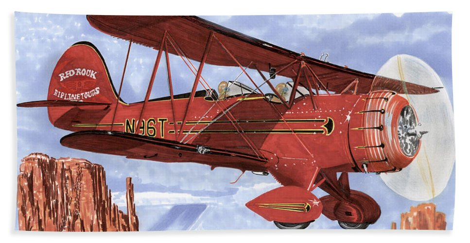 1935 Waco Bi-plane. Framed Prints Of Bi-wing Aircraft. Post Cards Of Old Airplanes. Framed Prints Of Utah Bath Sheet featuring the painting Monument Valley Bi-plane by Jack Pumphrey