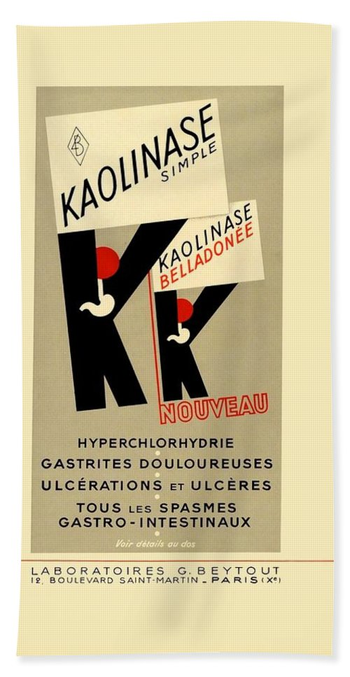 1936 Hand Towel featuring the digital art 1936 - Kaolinase Drug Advertisement - Color by John Madison