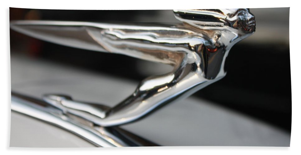 1936 Auburn Super Charger Flying Lady Hood Ornament Hand Towel featuring the photograph 1936 Auburn Super Charger Flying Lady Hood Ornament by John Telfer