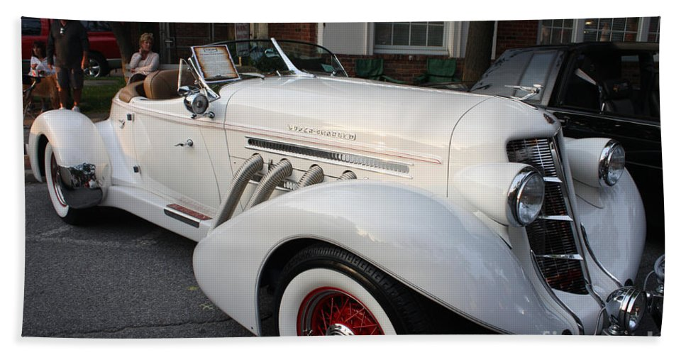 1936 Auburn Super Charger Hand Towel featuring the photograph 1936 Auburn Super Charger by John Telfer