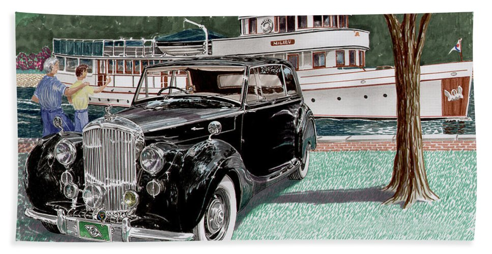 Classic 1936 Bentley British Car Art Hand Towel featuring the painting Bentley Waving To Malibu by Jack Pumphrey