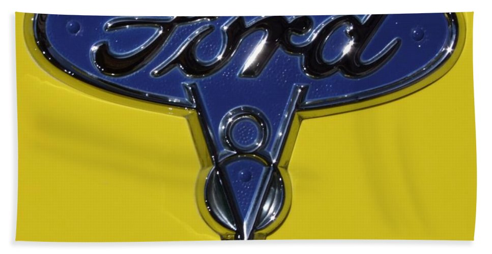 1936 Ford Hand Towel featuring the photograph 1936 Ford Pickup Emblem by Mary Deal