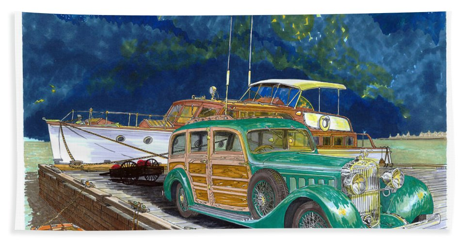 Classic Car Art Hand Towel featuring the painting 1936 Hispano Suiza Shooting Brake by Jack Pumphrey