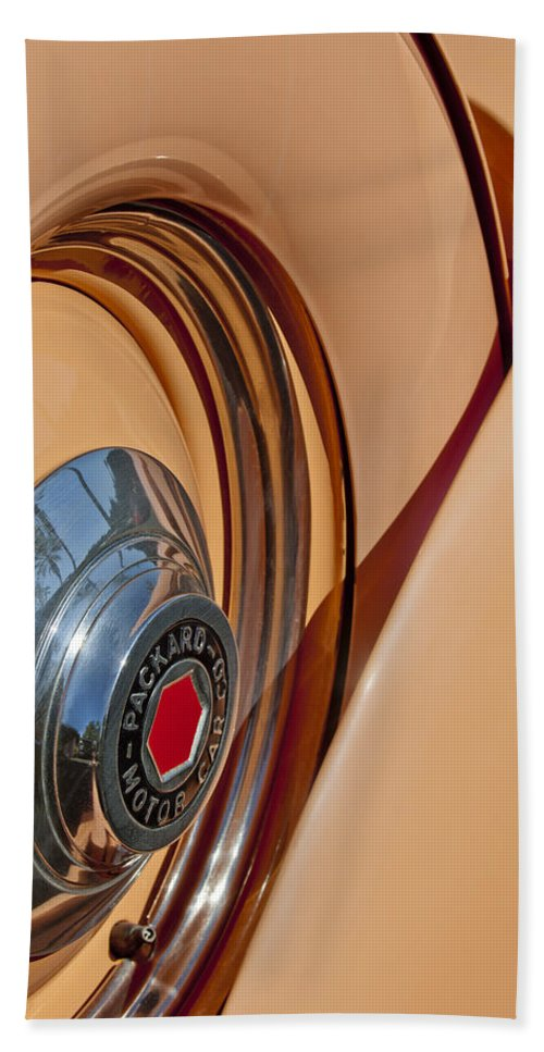 1936 Packard Hand Towel featuring the photograph 1936 Packard Spare Tire by Jill Reger