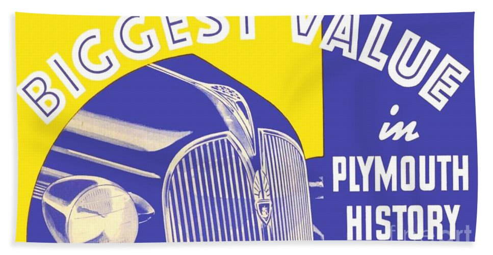 1936 Bath Sheet featuring the digital art 1937 - Plymouth Automobile Advertisement - Color by John Madison