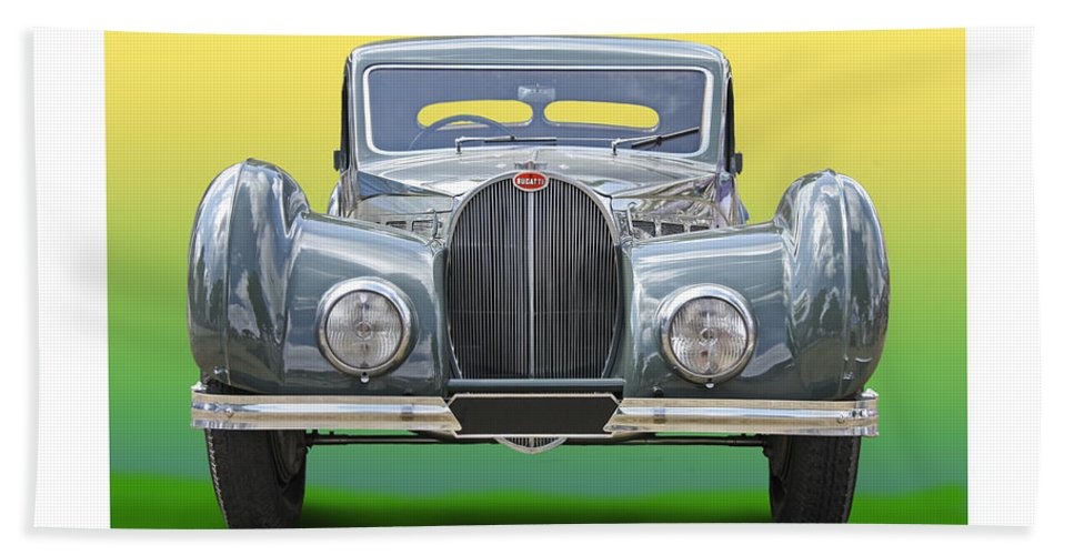 Enhanced Head-on Photo Of 1937 Bugatti Type 57sc With An Atalante Body Finished In Two-tone Green With Pigskin Upholstery Hand Towel featuring the photograph 1937 Bugatti 57 S C Atalante by Jack Pumphrey