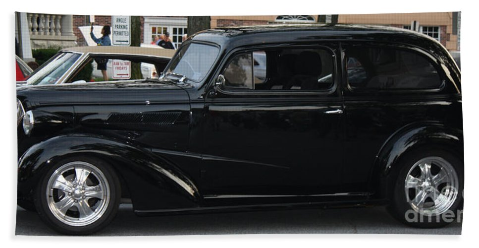 1937 Chevy Flameon Hand Towel featuring the photograph 1937 Chevy Flameon by John Telfer