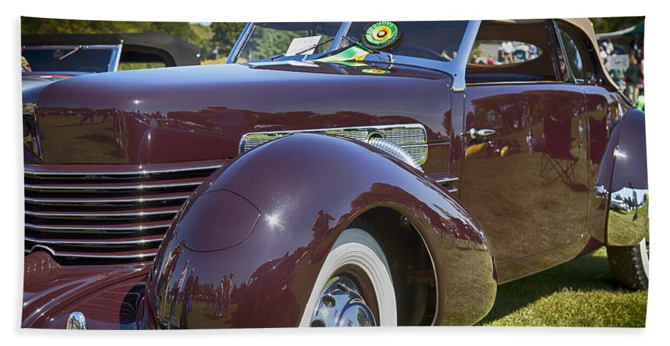 1937 Hand Towel featuring the photograph 1937 Cord Phaeton by Jack R Perry
