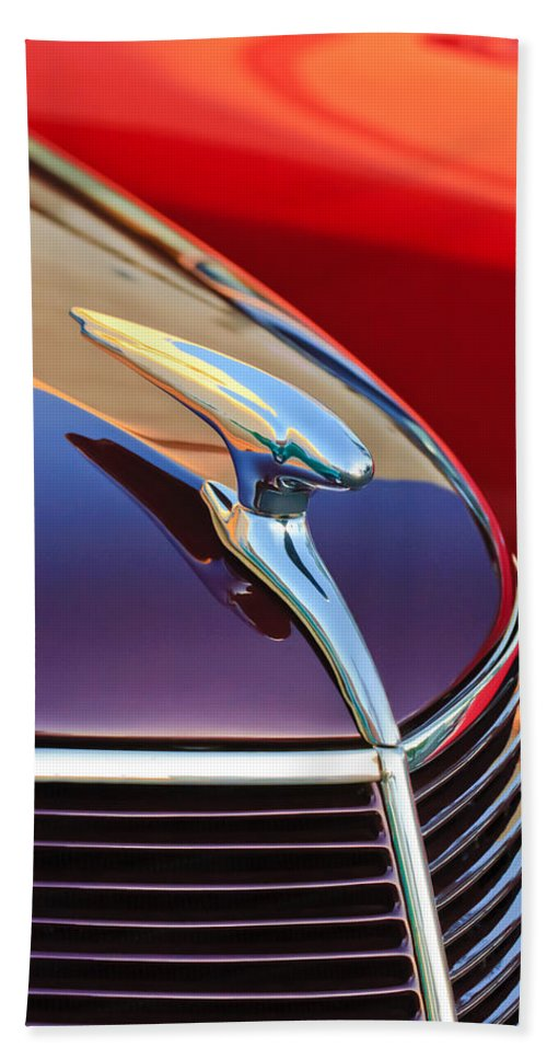 1937 Ford Hand Towel featuring the photograph 1937 Ford Hood Ornament 2 by Jill Reger