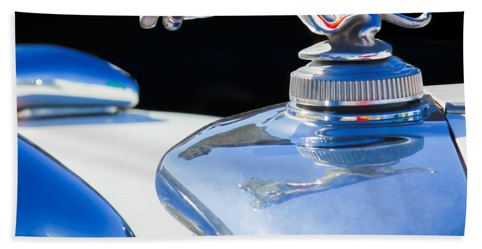 1937 Jaguar Prototype Hood Ornament Hand Towel featuring the photograph 1937 Jaguar Prototype Hood Ornament -386c55 by Jill Reger