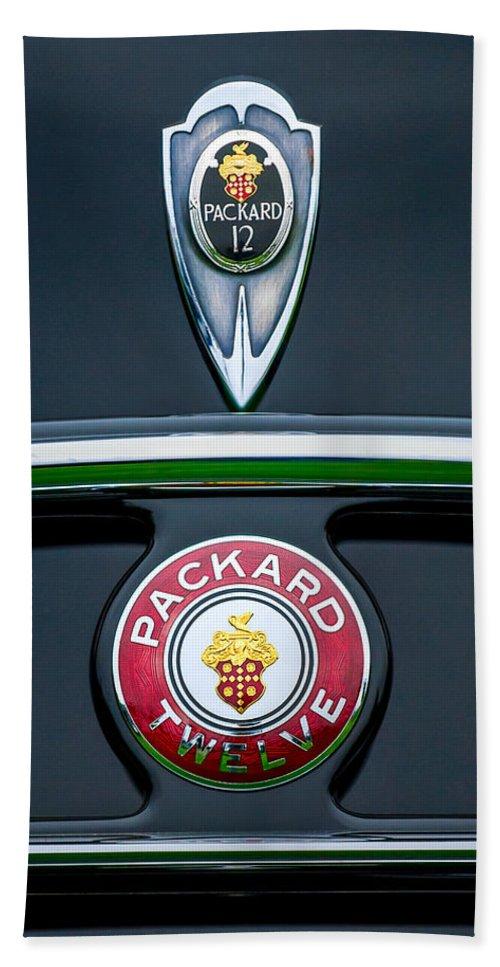 1937 Packard 1508 Twelve Convertible Sedan Emblems Hand Towel featuring the photograph 1937 Packard 1508 Twelve Convertible Sedan Emblems by Jill Reger