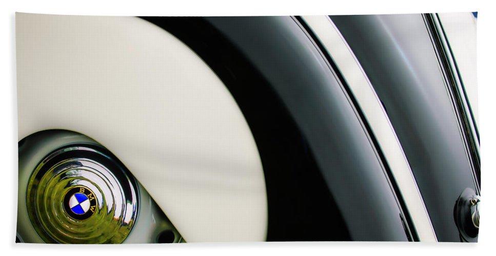 1938 Bmw 327 - 8 Cabriolet Rear Wheel Emblem Bath Sheet featuring the photograph 1938 Bmw 327 - 8 Cabriolet Rear Wheel Emblem -2668c by Jill Reger
