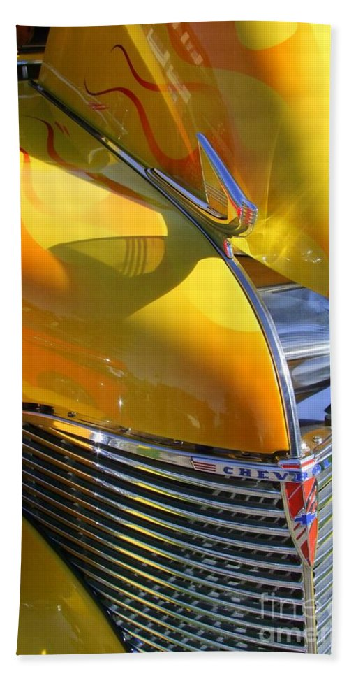 Old Cars Hand Towel featuring the photograph 1939 Chevy Hood by Mary Deal
