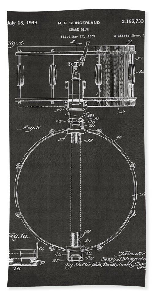Drum Hand Towel featuring the digital art 1939 Snare Drum Patent Gray by Nikki Marie Smith
