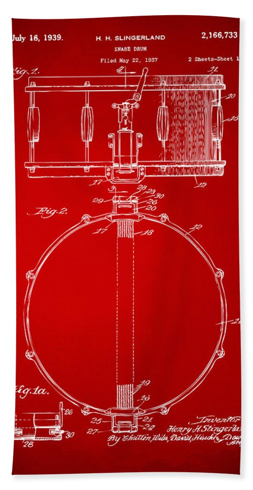 Drum Hand Towel featuring the digital art 1939 Snare Drum Patent Red by Nikki Marie Smith