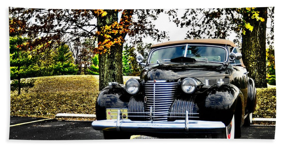 1940 Hand Towel featuring the photograph 1940 Cadillac Coupe by Randall Branham