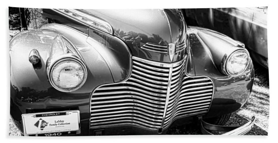 Hand Towel featuring the photograph 1940 Chevy Grill by Cathy Anderson
