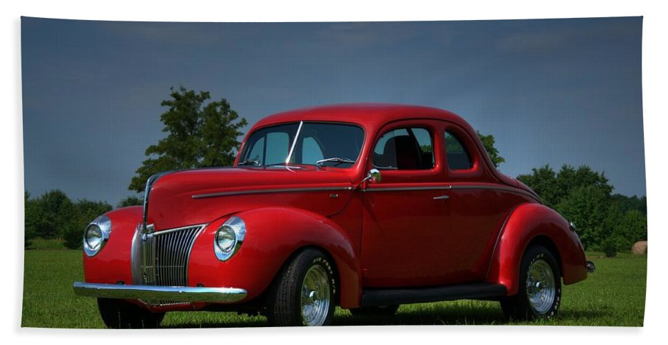 1940 Bath Sheet featuring the photograph 1940 Ford Coupe by Sonja Dover