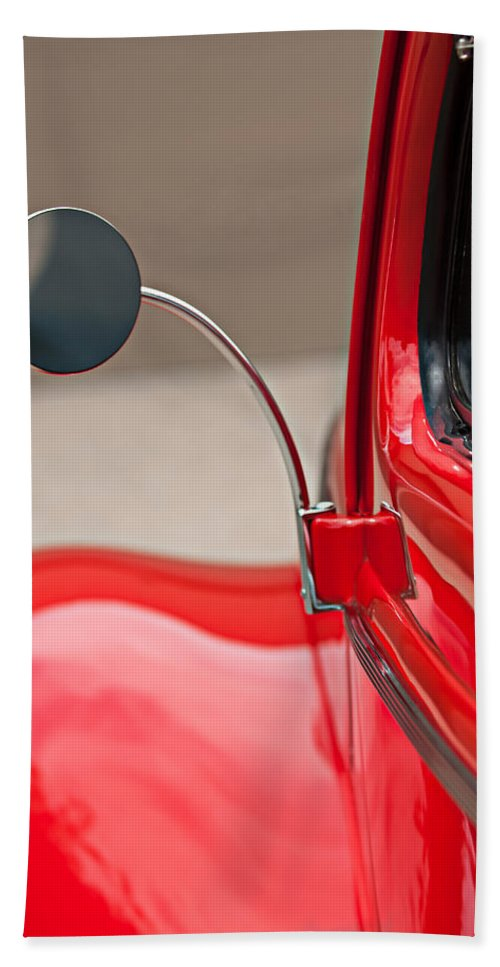 1940 Ford Deluxe Coupe Rear View Mirror Hand Towel featuring the photograph 1940 Ford Deluxe Coupe Rear View Mirror by Jill Reger