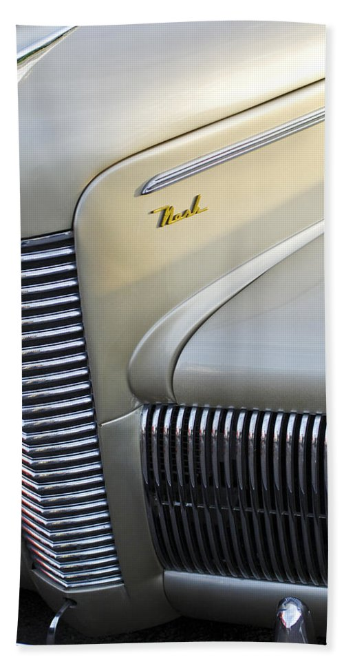 Car Bath Sheet featuring the photograph 1940 Nash Grille by Jill Reger