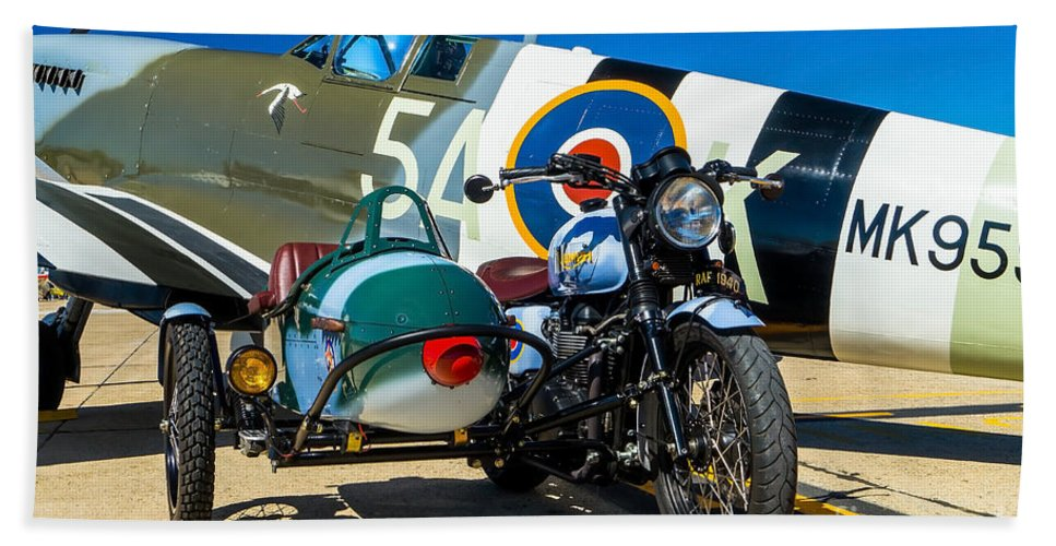 Supermarine Bath Sheet featuring the photograph 1940 Triumph And Supermarine Mk959 Spitfire by Nick Zelinsky