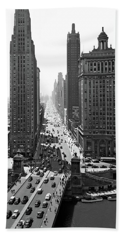 Photography Bath Towel featuring the photograph 1940s Downtown Skyline Michigan Avenue by Vintage Images