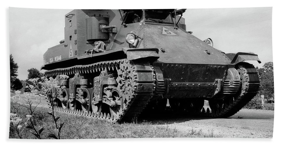Photography Bath Towel featuring the photograph 1940s World War II Era Us Army Tank One by Vintage Images