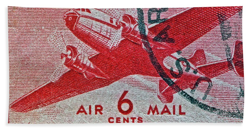 1941 Bath Sheet featuring the photograph 1941 - 1944 Six Cents Air Mail Stamp - U. S. Army Cancelled by Bill Owen