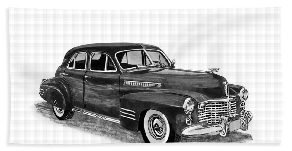 Framed Prints Of Pen And Ink Wash Paintings Of Cars From The 30s Hand Towel featuring the painting 1941 Cadillac Fleetwood Sedan by Jack Pumphrey