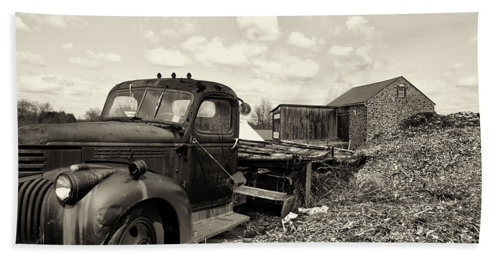 1941 Bath Sheet featuring the photograph 1941 Chevy Truck In Sepia by Bill Cannon