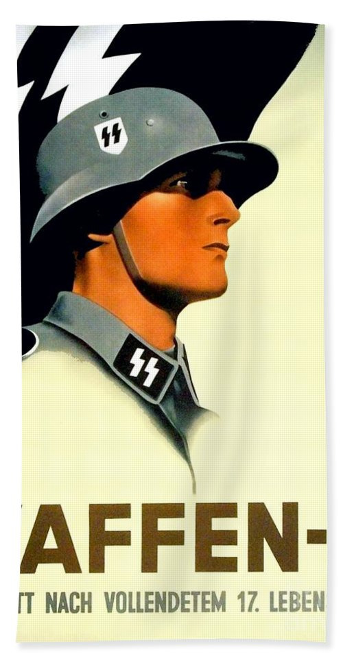 1941 Hand Towel featuring the digital art 1941 - German Waffen Ss Recruitment Poster - Nazi - Color by John Madison