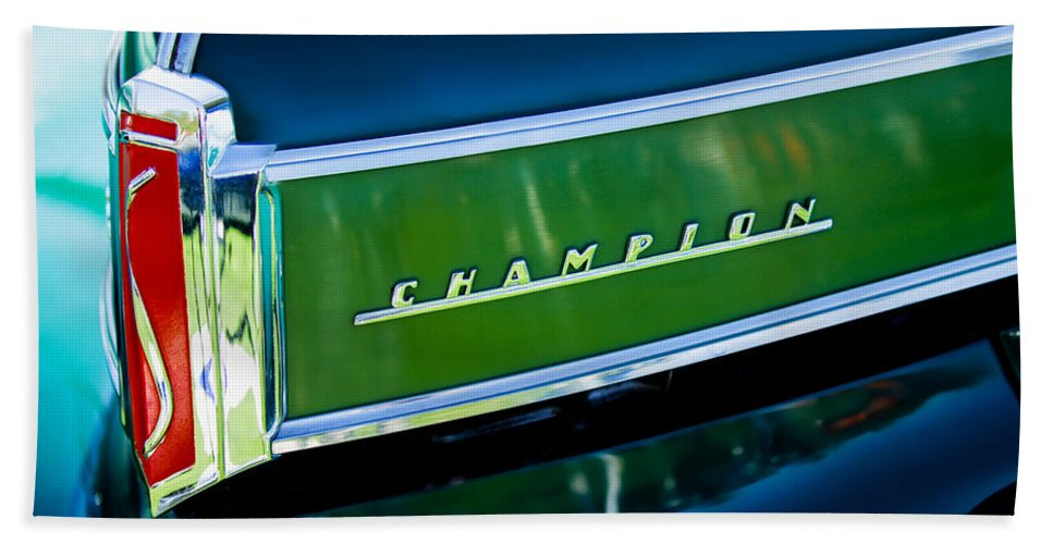 1941 Studebaker Champion Coupe Hand Towel featuring the photograph 1941 Sudebaker Champion Coupe Emblem by Jill Reger