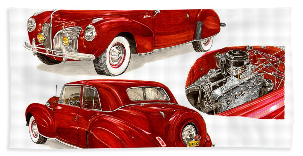 A Jack Pumphrey Watercolor Painting Of A 1941 Lincoln Continental Bath Sheet featuring the painting 1941 V 12 Lincoln Continental by Jack Pumphrey