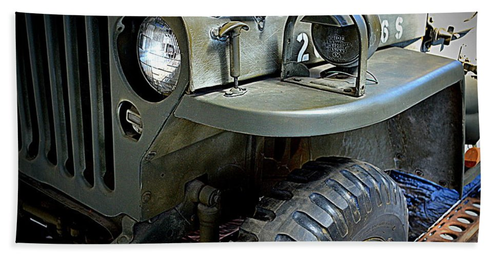 Ford Bath Sheet featuring the photograph 1942 Ford U.s. Army Jeep Ll by Michelle Calkins