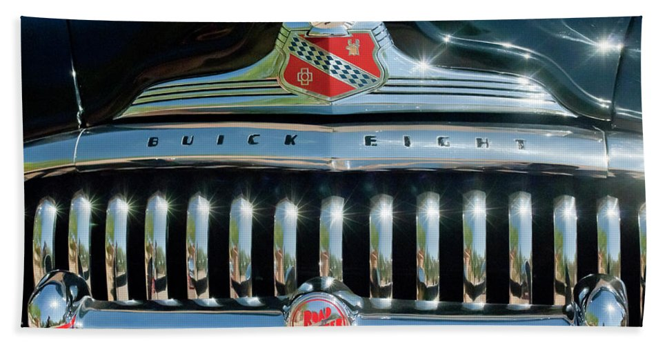 1947 Buick Bath Sheet featuring the photograph 1947 Buick Sedanette Grille by Jill Reger