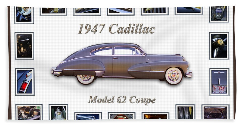 1947 Cadillac Model 62 Coupe Art Bath Sheet featuring the photograph 1947 Cadillac Model 62 Coupe Art by Jill Reger