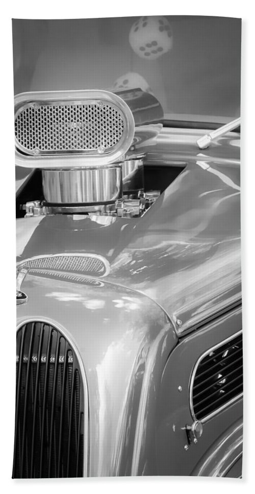 1948 Anglia Engine Hand Towel featuring the photograph 1948 Anglia Engine -522bw by Jill Reger