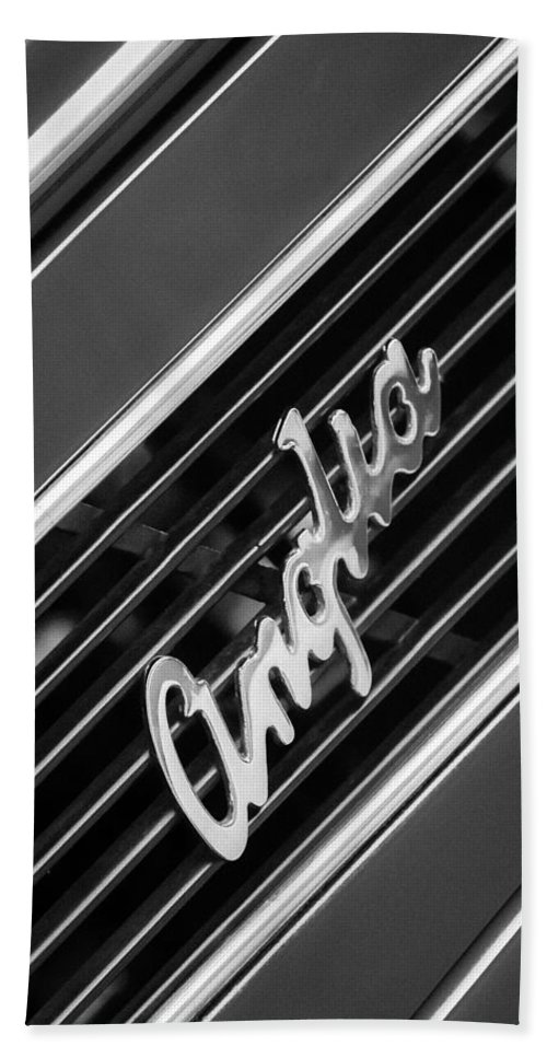 1948 Anglia Grille Emblem Bath Sheet featuring the photograph 1948 Anglia Grille Emblem -510bw by Jill Reger
