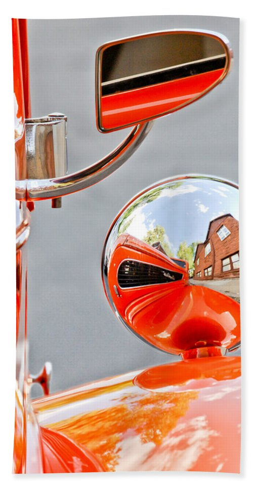 1948 Anglia Rearview Mirror Bath Sheet featuring the photograph 1948 Anglia Rear View Mirror -451c by Jill Reger