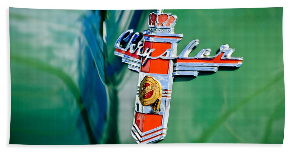1948 Chrysler Town And Country Convertible Emblem Hand Towel featuring the photograph 1948 Chrysler Town And Country Convertible Emblem -0974c by Jill Reger
