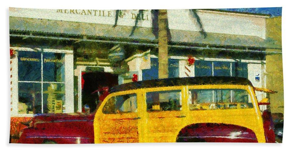1948 Ford Woody Bath Sheet featuring the digital art 1948 Ford Woody Station Wagon by Barbara Snyder