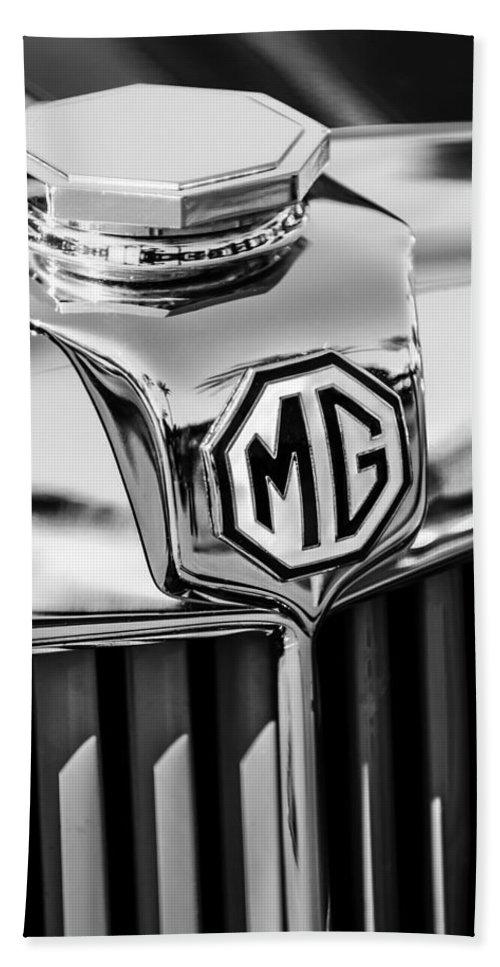 1948 Mg Tc Hood Ornament Bath Sheet featuring the photograph 1948 Mg Tc Hood Ornament -767bw by Jill Reger