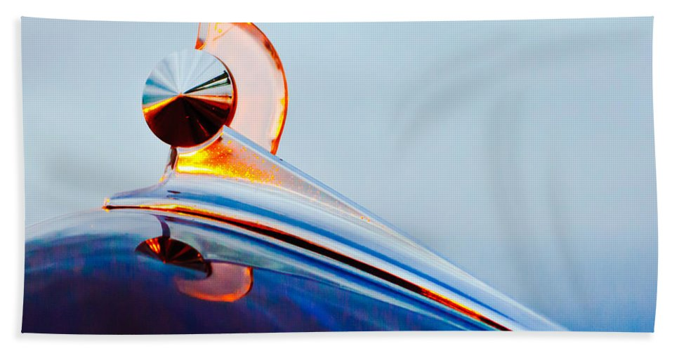 1949 Ford Bath Sheet featuring the photograph 1949 Ford Hood Ornament 2 by Jill Reger