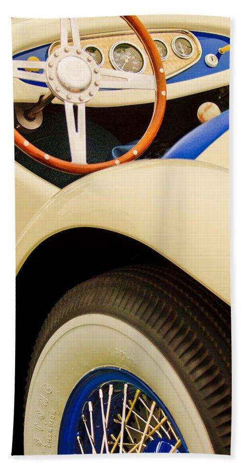 1950 Eddie Rochester Anderson Emil Diedt Roadster Bath Sheet featuring the photograph 1950 Eddie Rochester Anderson Emil Diedt Roadster Steering Wheel by Jill Reger