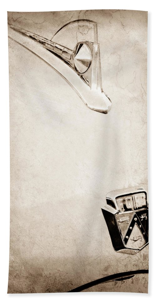 1950 Ford Hood Ornament Hand Towel featuring the photograph 1950 Ford Hood Ornament - Emblem by Jill Reger
