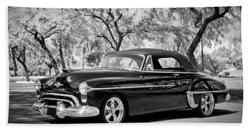 1950 Oldsmobile 88 Hand Towel featuring the photograph 1950 Oldsmobile 88 -004bw by Jill Reger