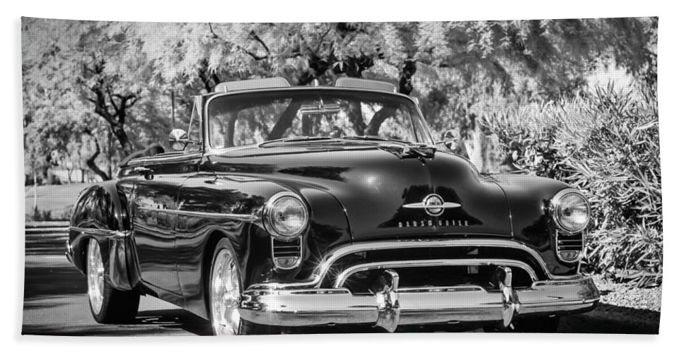 1950 Oldsmobile 88 Bath Sheet featuring the photograph 1950 Oldsmobile 88 -105bw by Jill Reger