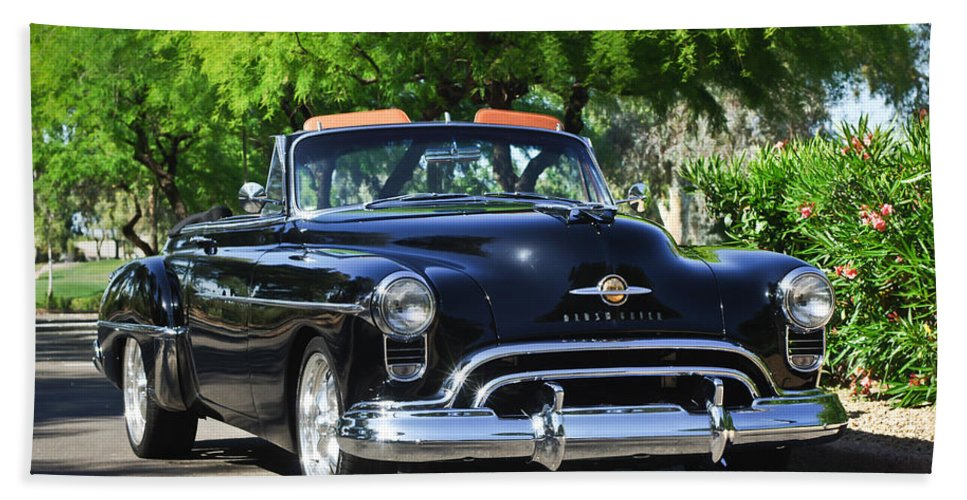 1950 Oldsmobile 88 Bath Sheet featuring the photograph 1950 Oldsmobile 88 -105c by Jill Reger